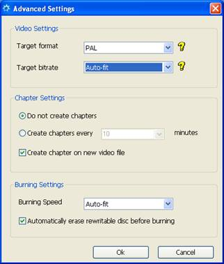 Advanced settings of Solid AVI/DIVX to DVD Burner